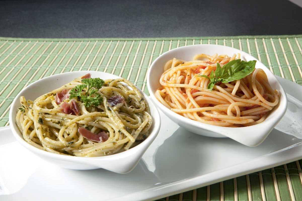 Spaghetonni con tres sabores