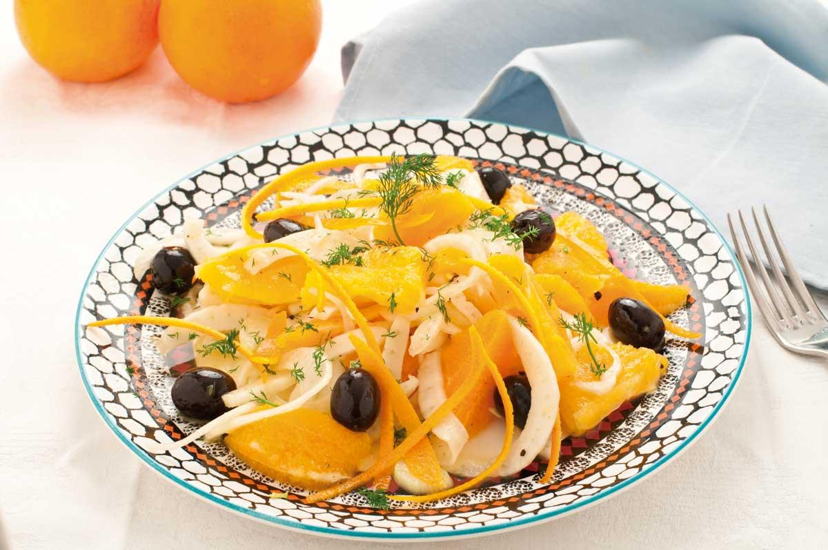 Ensalada de aceitunas y naranjas