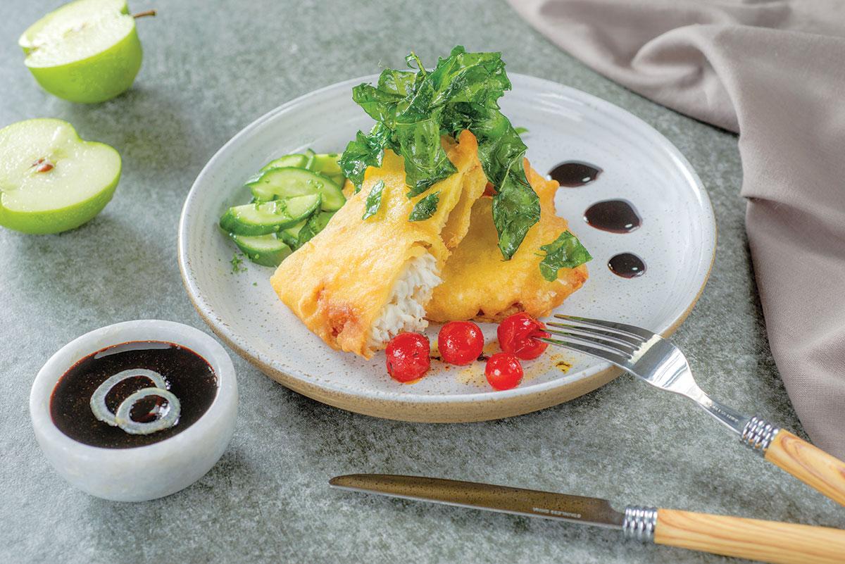 Tilapia tempura con salsa teriyaki
